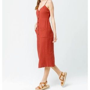 Sky and sparrow cotton button front midi dress in